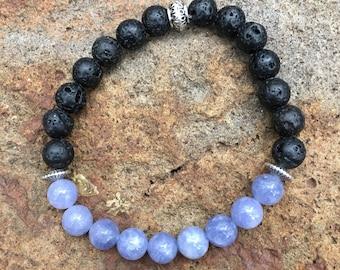 Purple Angelite Natural Stone and Lava Rock Essential Oil Diffuser Bracelet