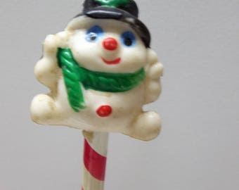 Vintage Snowman Candy Cane Pencil 12Long