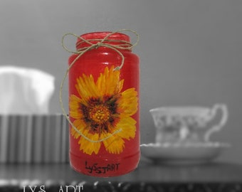 Red Vase Glass Yellow Coreopsis Flower