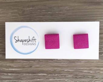 Handmade Polymer Clay Stud Earrings / Square / Pearly Purple / Warm Purple