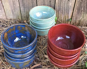 Small Bowls - set of 4 stoneware - color choice - handmade pottery prep bowls, ramekin