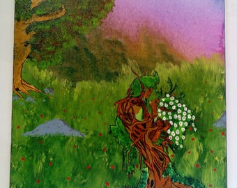 Enchanted forest lovers tree acrylic painting