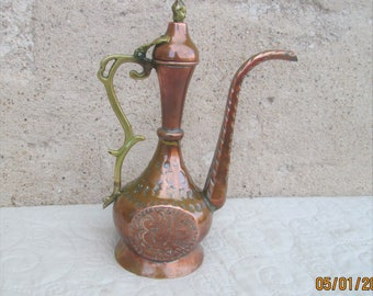 Vintage Morrocan Pitcher, copper jugs, ethnic items, copper and brass, Morrocan design
