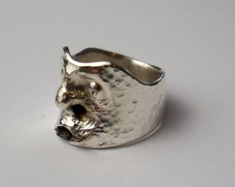 Ziesellierter face ring in silver