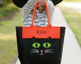 Halloween Cat Tote, Trick or Treat Bag, Halloween Bag, Halloween bucket, personalized Halloween bag