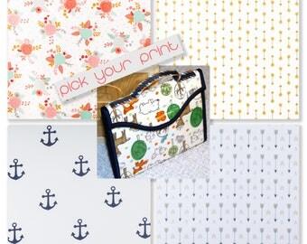 Portable Changing Pad Diaper Clutch l Foam Changing Pad l Wipe Clean l Gender Neutral Diaper Clutch l Nautical l Arrows l Laminated Cotton