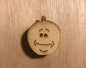 Mr meseeks wood lapel pin