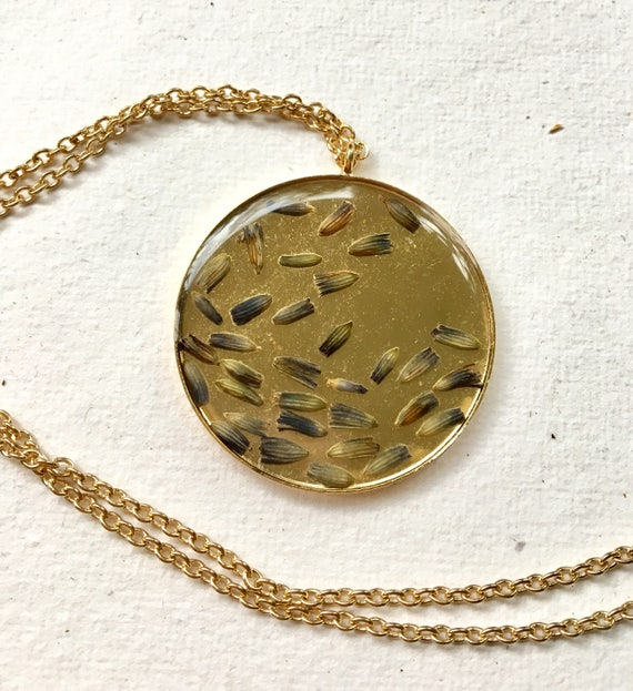 Lavender bud brass circle necklace