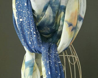 Large bright yellow and blue scarf