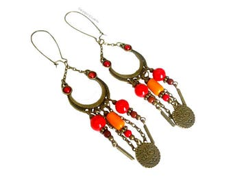 Long earrings ethnic red and orange