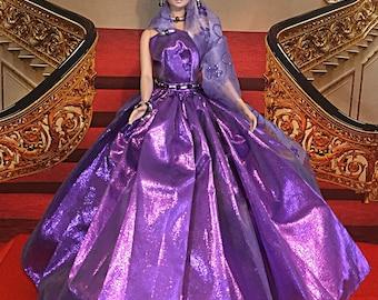 Barbie Silkstone Handmade purple beaded ball gown with handmade jewelry accesories