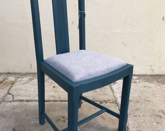 Upcycled chair hand painted in Annie Sloan and upholstered in linen