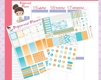 Mini H Rainy Day Weekly Set, Page 2, and Icon Set Planner stickers #01