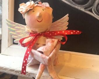 Vintage Inspired Valentine's Cupid Knee Hugger Doll