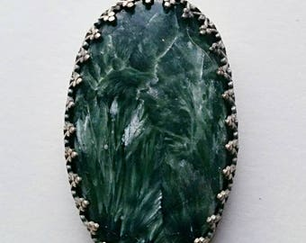 Seraphinite Pendant, Sterling silver bezel setting, handmade with primary color green and secondary color silver, birthday or Christmas gift