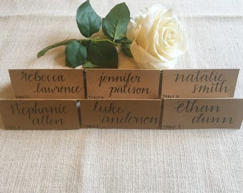 Place Cards Kraft Paper Rustic Wedding Table Cards Seating Numbers