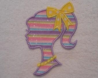 Rainbow Barbie Iron on Applique Patch