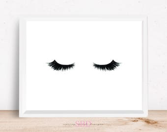 Makeup Eyes Mascara Eyelashes Digital Design Poster Wall Art Decor Download JPEG