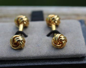 Gold Cuff Links French Knot