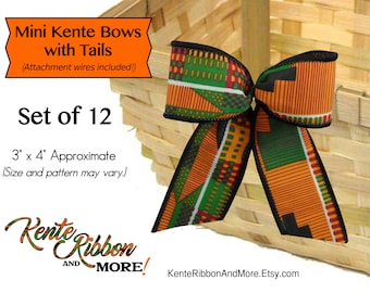 """Mini Kente Bows with Tails - Set of 12 - Gold attachment wire on back - 3"""" x 4"""" approx. size - Use as ornaments"""