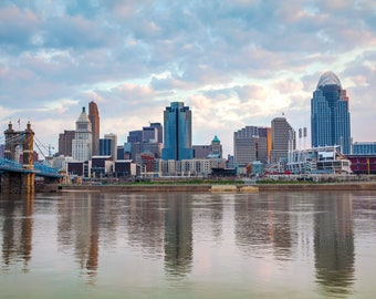 Cincinnati canvas skyline, Cincinnati Canvas, Cincinnati skyline, Cincinnati Wall canvas, 3 panel or single panel, Cincinnati wall art