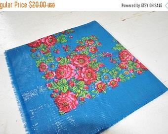 SALE Blue Floral Folk Shawl Ukrainian Shawl Blue Shawl Floral Shawl Bohemian Scarf Mother Day Gift Russian Shawl Ukrainian Chale Blue Pink