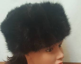 Vintage 60s MR. D' Dark Brown Soft Mink Fur Hat Mod