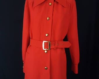 Vintage The Alligator Company Inc. Mod Red Orange Long Trench Coat Jacket with Gold Buttons