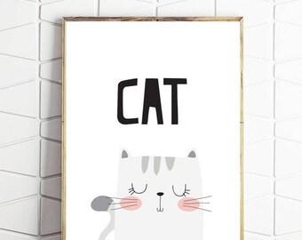 70% OFF SALE cat art, cat printable, cat home decor, cat wall print, instant cat art, digital cat print, cat download