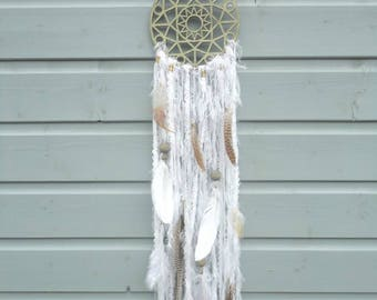 SALE!!! Wooden gold colored dreamcatcher with white fluffy fringe, feathers, lace, beads and other decoration material.