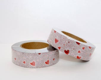 Glitter Washi Tape with silver and Red hearts, masking tape - glitter