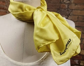 Vintage 60's yellow Jacqmar silk scarf, pin-up neck scarf, rockabilly scarf