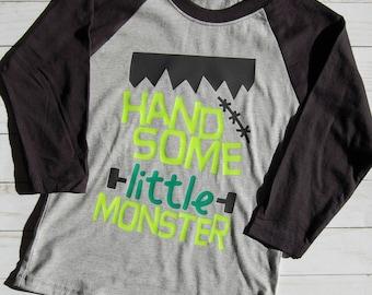 Handsome Little Monster Baseball Tee/Handsome Raglan/Boys Halloween Raglan/Boys Halloween Baseball Tee
