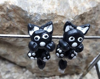 Earrings made of polymer clay cat