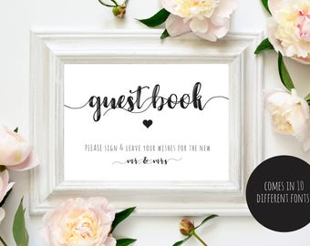 Guest Book Sign, Sign in Book Sign, Wedding Guest Sign, PDF Instant Download
