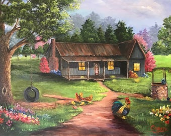 Old Farmhouse Oil Painting, Tire Swing, Water Well, Rooster, Hen with Chicks, Farm House Painting