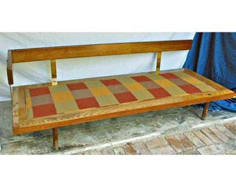 free us shipping harvey probber daybed wood vintage mid century modern original fabric brass arm billy