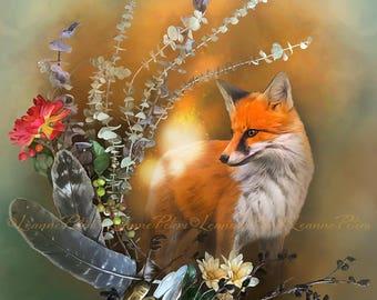 Fox Fall Magic by Leanne Peters - Fall Art - Fox Art - Fantasy Art