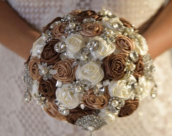 "Full Price !!!Ready to Ship Elegant 8"" Premium Satin Roses Brooch Bouquet Plus Combo Bridesmaid Bouquet Corsage Boutonniere"
