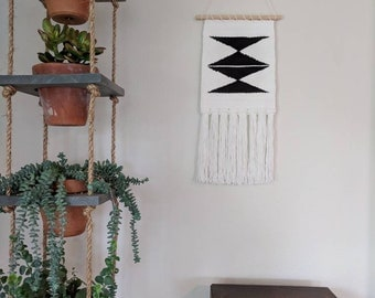 White & Black Woven Aztec Wall Hanging | Black and White Triangle Wall Hanging | White and Black Wall Decor