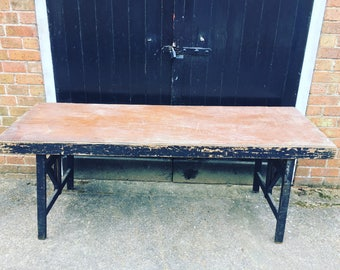 Old wooden 1950's trestle table