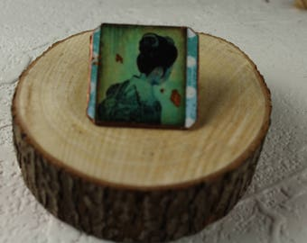 Brass Pin 1x1 -Oriental Theme - Handmade - #679
