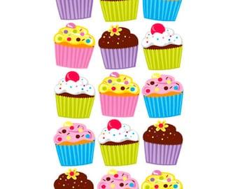 Cupcake Stickers - Vellum and Glitter