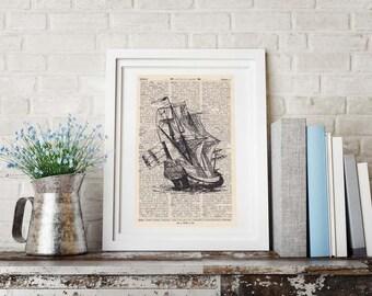 Pressure sailing ship on antique book page - portrait