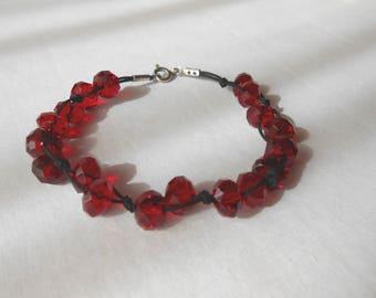 Swarovski Crystal Bracelet, Jewelry, macrame, silver brass clasp