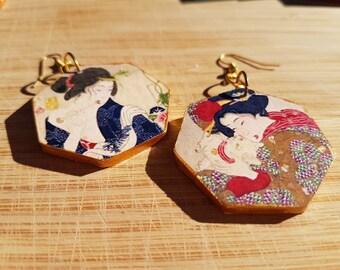 Playful Geisha - gorgeous large, heptagon, wooden earrings