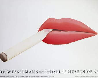 Tom Wesselmann exhibition poster - Smoking Mouth 11 - pop art - Dallas museum of Art - museum print