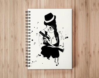 Gangster Woman Notebook/Sketchbook Wire Bound - Blank pages