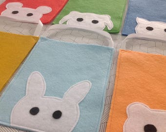 adorable animal party loot goodie favour felt children's bag - pack of six