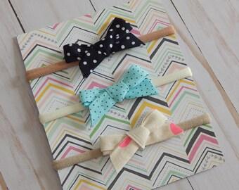 Baby girl Hair Bows, Nylon Headbands, Small Hair bows baby Girl, One size fits all bows, Baby shower gift